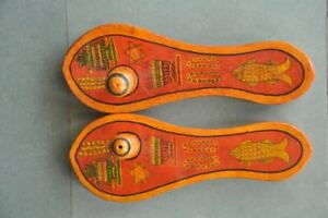 2-PC-Vecchio-di-Legno-Sottile-Dipinto-a-Mano-Unico-Forma-Fatto-Khadau-Pantofole