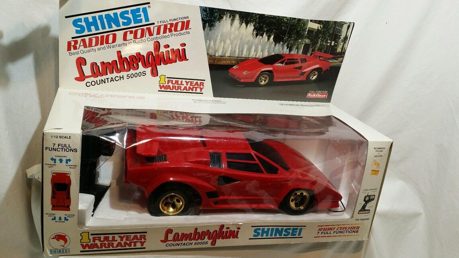 Shinsei Lamborghini RC Radio Control Countach 5000s rosso