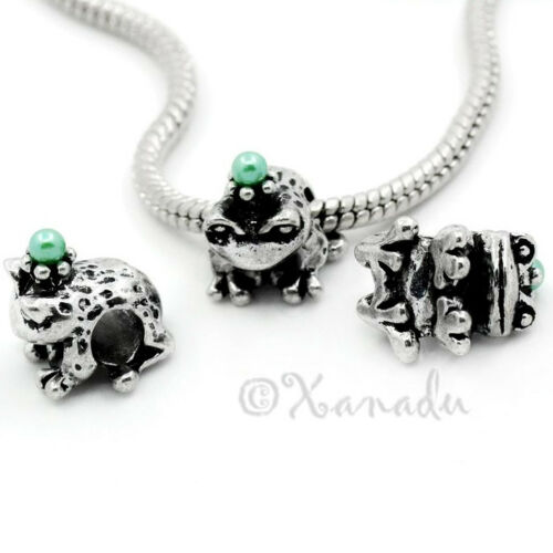 Frog Prince With Green Crown European Charm Bead For European Charm Bracelets