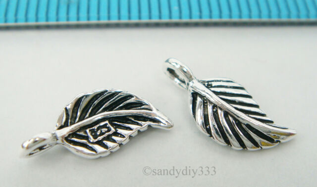 2x STERLING SILVER OXIDIZED DANGLE LEAF CHARM PENDANT 10.5mm #2162
