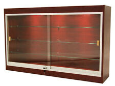 Cherry Wall Mounted Display Showcase With Glass Doors Shelves Lights Amp Lock