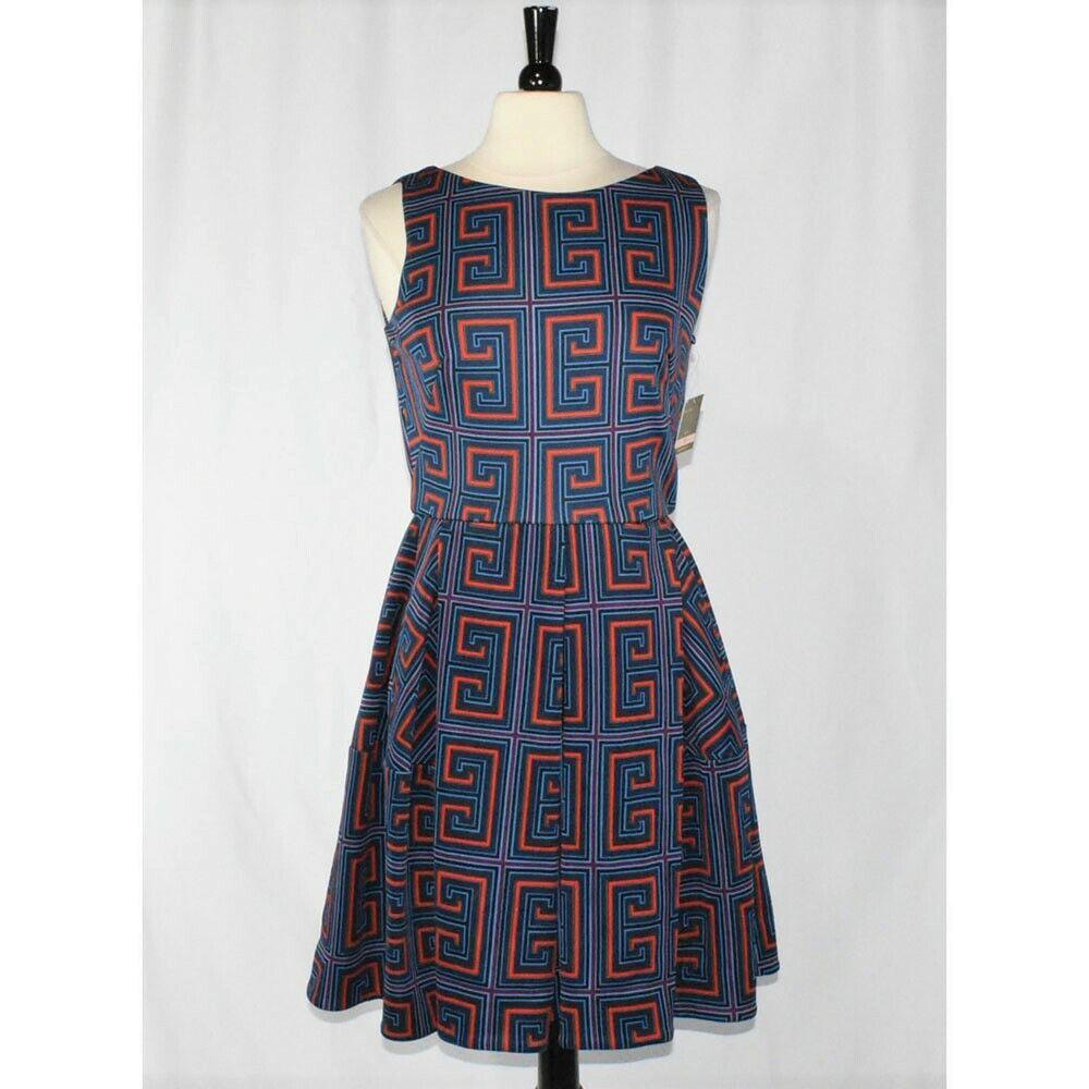 Taylor damen's Fit & Flare Geo Print Scuba Dress Größe 10 New  NWT