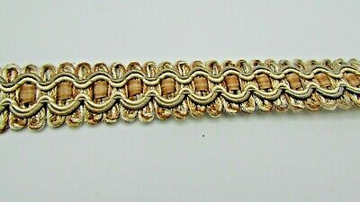 """Old Gold and Green Upholstery Braid /""""Grampian Fern/"""" 18mm sold by the Metre"""
