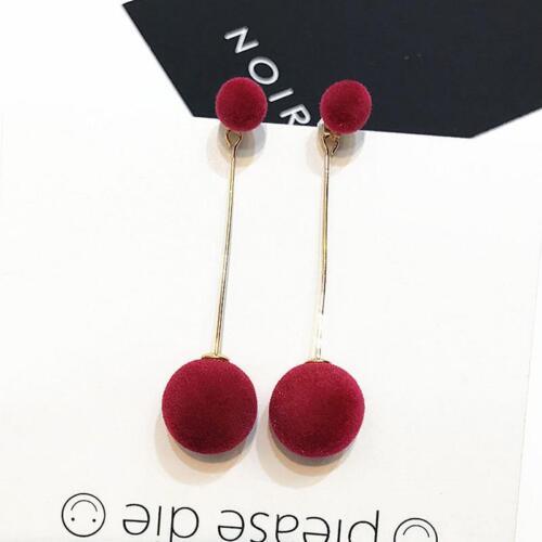 Fashion Plush Ball Drop Earrings Round Long Dangle Women Earrings J