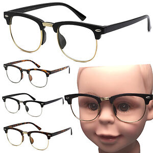 028cd6742f Small Kid Size Clear Lens Glasses Half Frame Nerd Hipster Child ...