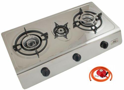 Portable Gas Stove 3 Brûleur d/'intérieur en acier inoxydable cuisson 70 cm Cuisinière NJ-300SD