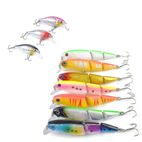 1pc 13g//7cm 3D Eye Minnow Fishing Lure Bass Crankbait Fishing Bait Tackle Hooks