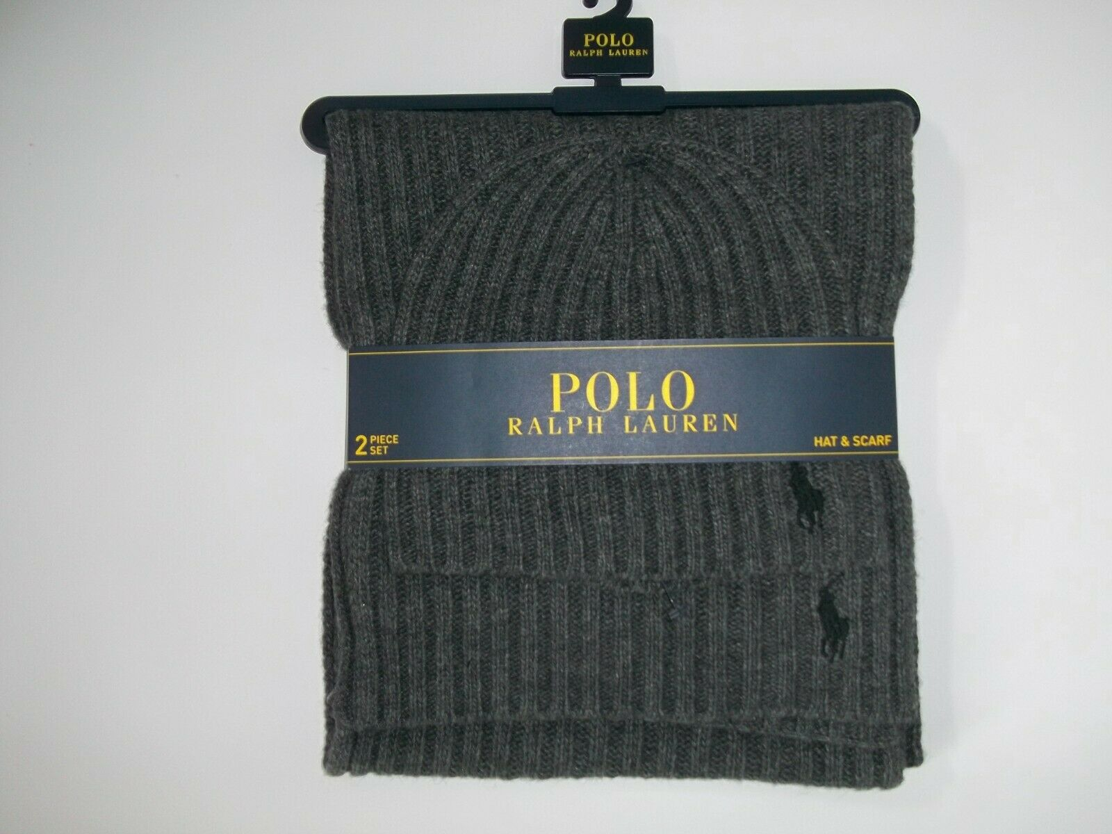 Polo RALPH LAUREN Logo Pony Mens 2 PC WOOL Gray Knit SCARF & Beanie HAT Set NEW