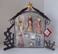 Nativity Set 9 Pieces Home Accents Mary Baby Jesus In Manger Resin Figures