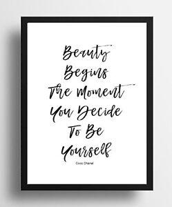 Détails Sur Inspirant Citation Coco Chanel Beauté Qualité Affiche Imprimer Cadeau Mur Encadrée Afficher Le Titre D Origine