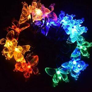 20-50LED Energia Solare Farfalla fibra ottica FAIRY stringa luci esterno giardino x1