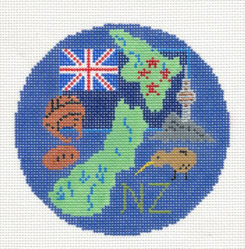 Country of NEW ZEALAND handpainted Needlepoint Canvas Ornament by Silver Needle