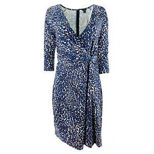 c44f44e8f87 New Ann Taylor Animal Print Faux Wrap Jersey Dress Petite 3 4 Sleeve ...