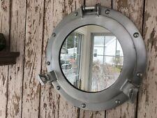 11 Porthole Mirror ~ Grey Finish ~ Nautical Maritime Wall Decor ~ Cabin Window