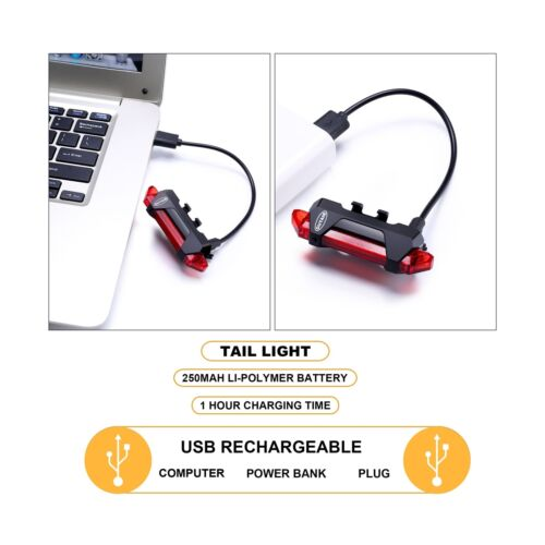 USB Rechargeable Bicycle Light Front And Tail Set 5 LEDs 4 Modes Head Back
