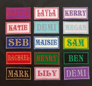 Personalised-Embroidered-Name-Patch-Badge-Rectangular-Iron-on-or-sew-80-x-38