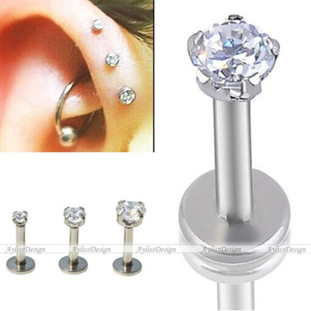 3pc Mixed Stainless Steel Round CZ Monroe Lip Labret Tragus Cartilage Helix Stud