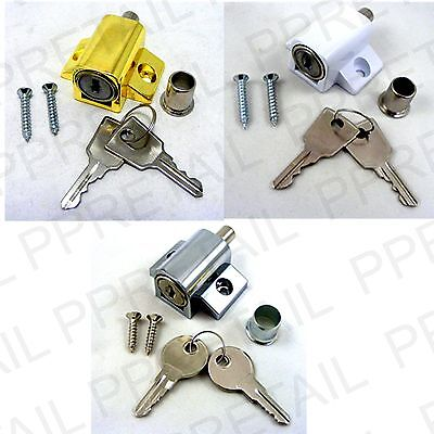 PATIO DOOR/WINDOW LOCKING CATCH/LOCK + 2 KEYS & SCREWS