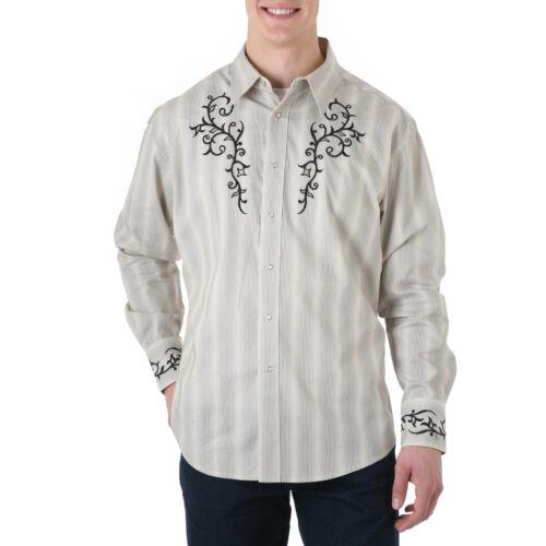 M WRANGLER Mens EMBROIDERED YOKE Shirt Tan Stripe