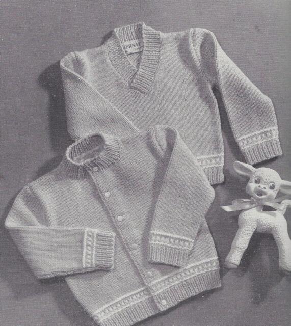 Vintage Knitting Pattern To Make Baby Sweater Cardigan Pullover Sz