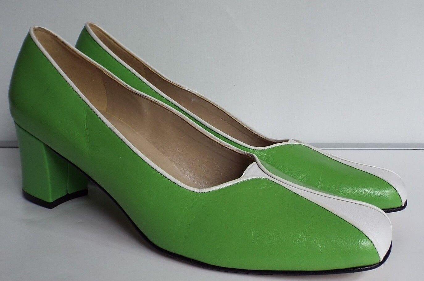 vtg Siamanto 9.5 43.5 12N trans CD Leder vivid Green WEISS mid block heel