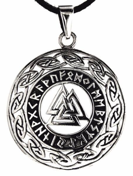 Aggressiv Nr 216: Wotansknoten Anhänger 925 Silber & Silberkette Keltenknoten Runen Wotan Kunden Zuerst
