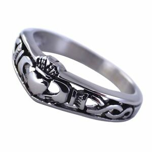 1105881f907 Irish Claddagh Ring Womens Celtic Knot Wedding Band Stainless Steel ...