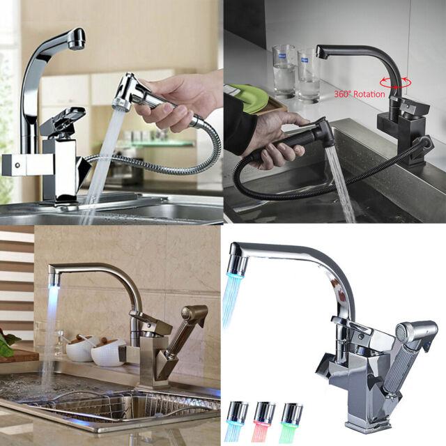 Ausziehbar Wasserhahn Küchenarmatur 360° drehbare Armatur Küche  Spültischarmatur