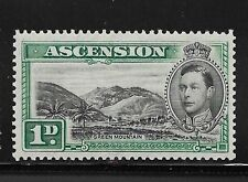 1938 ASCENSION ISLAND STAMP 1D UNUSED PERF 13.5 BLACK AND GREEN