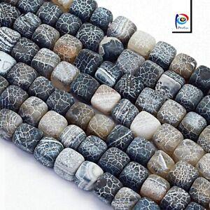 Natuerliche-Achat-Perlen-Wuerfel-Matte-Schwarz-8mm-Edelsteine-Schmuck-G170