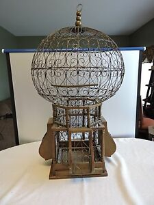Huge-Vintage-Victorian-Style-Wood-and-Wire-Spherical-Sphere-Bird-Cage-34-Tall