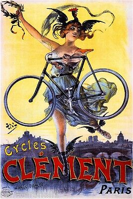 Cycles Clement Vintage French Nouveau Poster Picture Print Art Advertisement