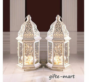 """LARGE 15/"""" White Moroccan shabby Candle holder lantern terrace outdoor wedding"""