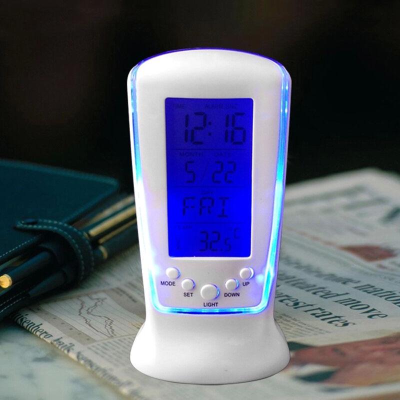 1pc Digital Backlight LED Display Table Alarm Clock Snooze Thermometer Calendar 4