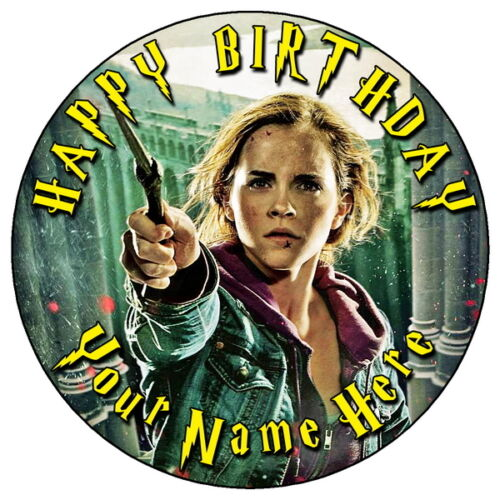 """7.5/"""" PERSONALISED ROUND EDIBLE ICING CAKE TOPPER HARRY POTTER HERMIONE GRANGER"""