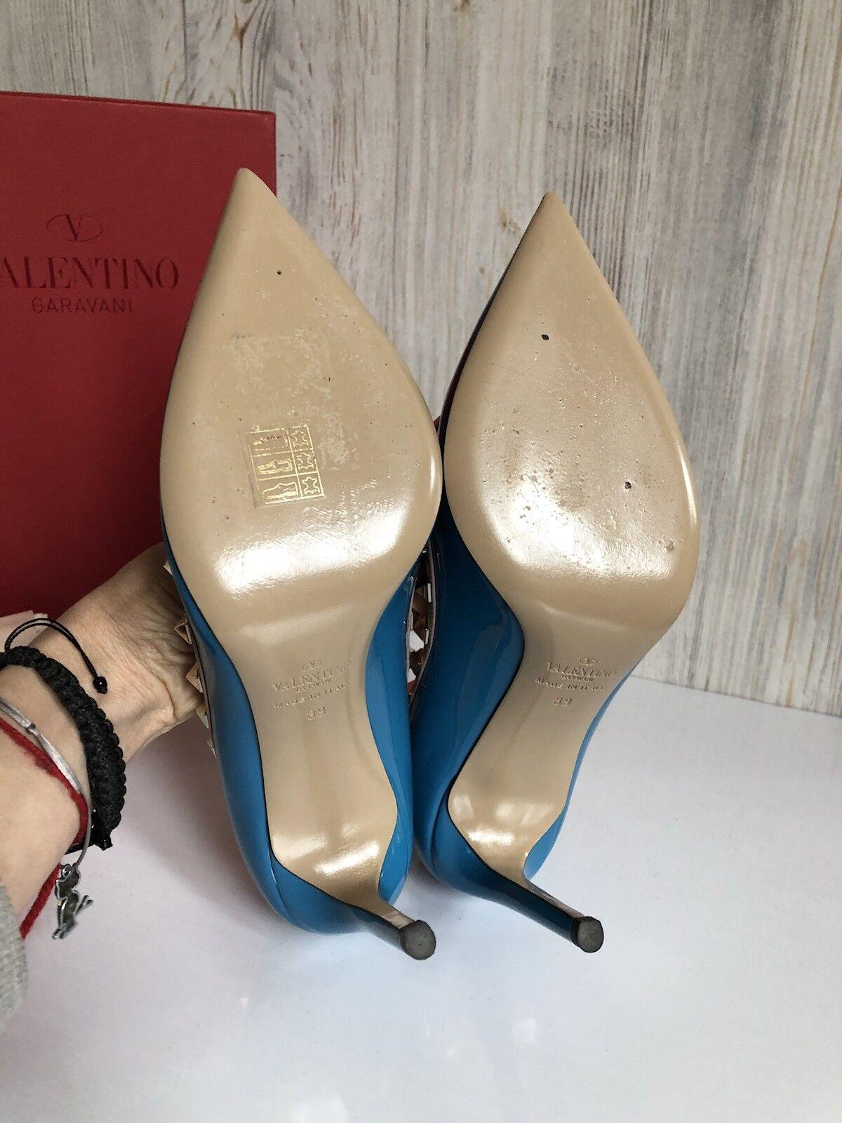 Valentino Rockstud Rockstud Rockstud 39 bluee Patent Leather Studed Pumps Classic NIB AUTH c7b590
