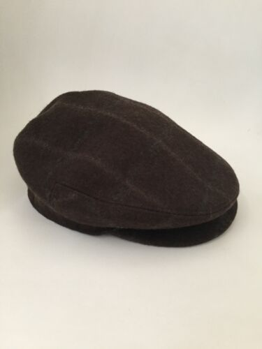 Hermes Brown Wool Newsboy Cabbie Hat Cap Size 57