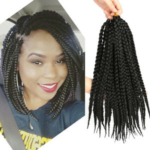 14 box braids color black crochet synthetic hair extensions 3x image is loading 14 034 box braids color black crochet synthetic pmusecretfo Image collections