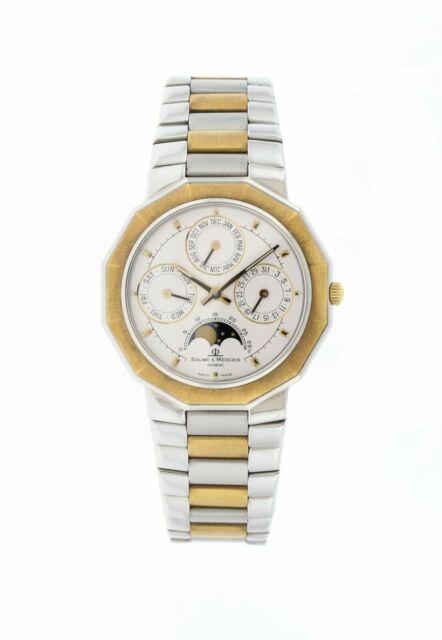 Calendario Ebel.Baume Mercier Triple Date Moonphase 18k Yellow Gold Steel 34mm Watch 6131 03