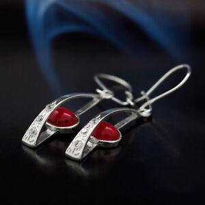 Koralle-Silber-925-Ohrringe-Damen-Schmuck-Sterlingsilber-H0320