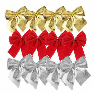 12X-Christmas-Tree-Bow-Decoration-Baubles-XMAS-Party-Decor-Bows-Red-Silver-Gold