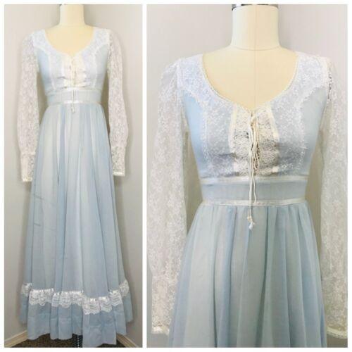 Vintage 70s Gunne Sax Lace Dress Size S Prairie Br