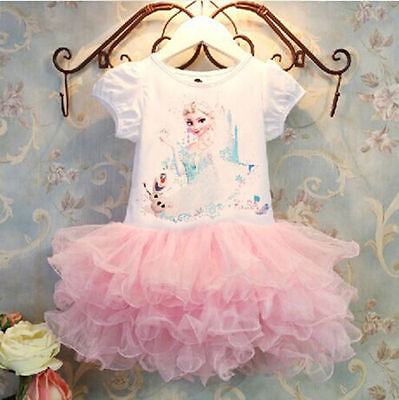 Children Girls Movie Frozen Princess Party Costume Elsa Anna Fancy Tutu Dress