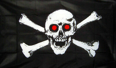 5/' x 3/' Skull and Crossbones Flag Pirate Party Jolly Roger Banner