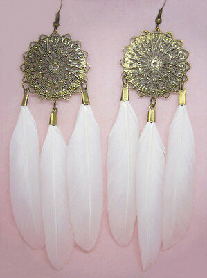 F1423 fashion white Feather circle dangle chandelier earrings jewelry