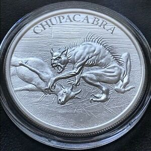 Chupacabra-1-oz-999-Silver-Round-American-Folklore-High-Relief-Bigfoot-Goat-Suck