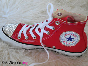 6487b8355eac20 CONVERSE All Star Red High or Low Tops with SWAROVSKI CRYSTALS