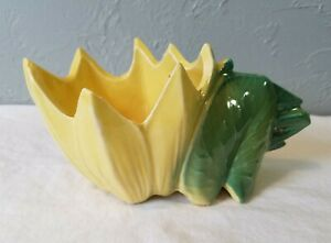 Vintage-McCoy-Green-and-Yellow-Lily-Pad-or-Lotus-Art-Pottery-Planter