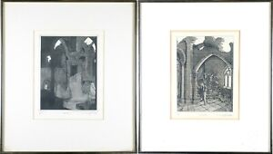 Metal-Framed-Two-Vintage-Etching-Print-David-W-Brown-Pencil-Signed-Edition