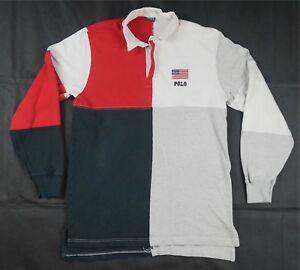 Rare VTG POLO RALPH LAUREN Spell Out Flag Patch Color Block Rugby ... fa059914471f